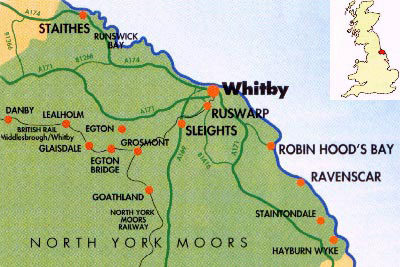 Map Of England Showing Yorkshire.North Yorkshire And Cleveland Heritage Coast
