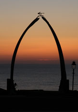 whale bone arch at sunset