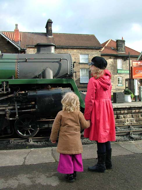 The Green Knight (BR 4-6-0 Standard Class 4MT no.75029) at Grosmont Station, the end of its run from Whitby with the Olympic Torch - photo courtesy of NYMR