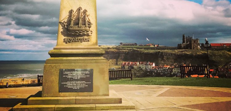 Statue overlooking Whitby town to celebrate the James Cook legacy