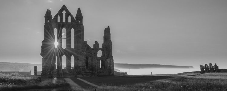 black and white image of whitby abbey
