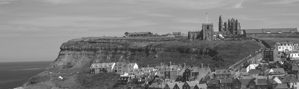 black and white image of whitby town