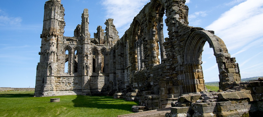 Whitby Abbey grounds ready to host a play during the Cook 250 Festival