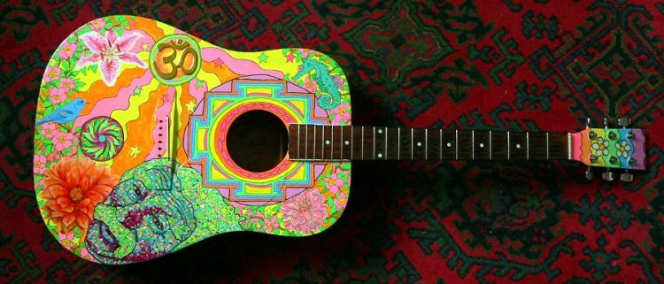 brightly coloured guitar to be used at the Whitby 60s festival