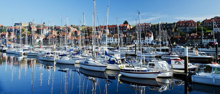boats docked at the harbour for the Whitby Regatta