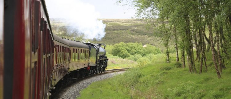 Steam train getting to Whitby on the North Yorkshire Moors Railway