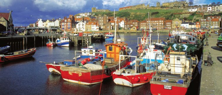 Whitby Harbour full of boats during a Whitby festival