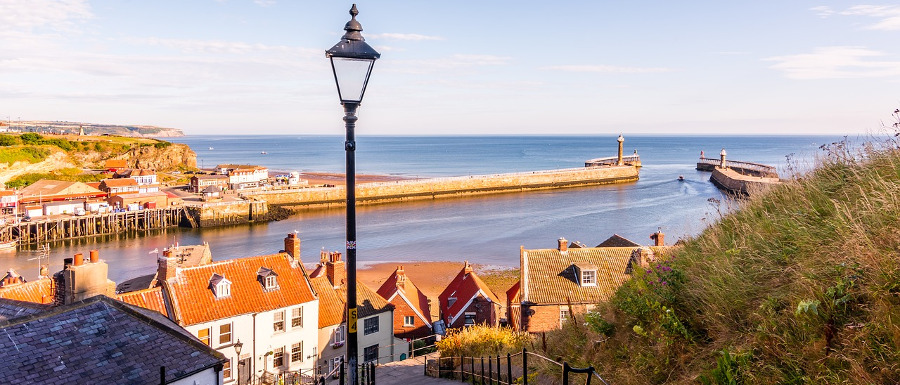 view of Whitby from the Abbey steps