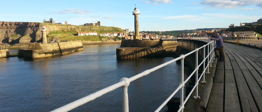 whitby town and pier on a sunny day