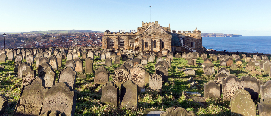 St Mary's Church and graveyard at the top of Whitby Abbey steps
