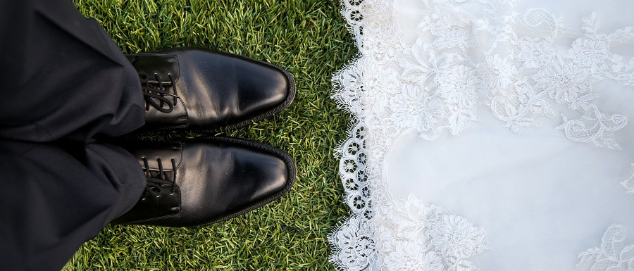 bride and groom's feet at Whitby wedding venues