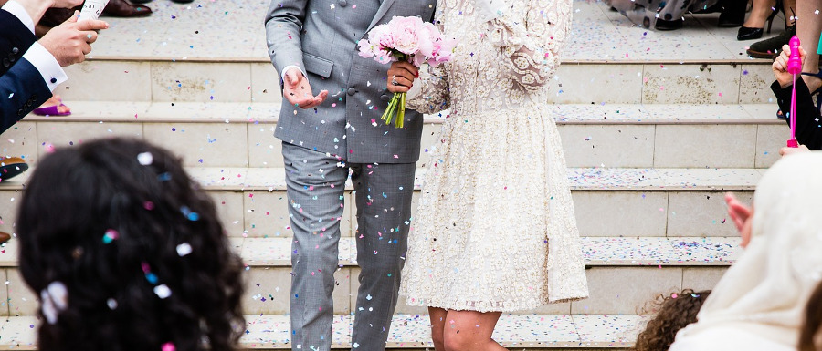 confetti being thrown at Whitby wedding venues