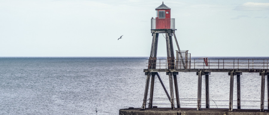 one of the lighthouses on Whitby pier
