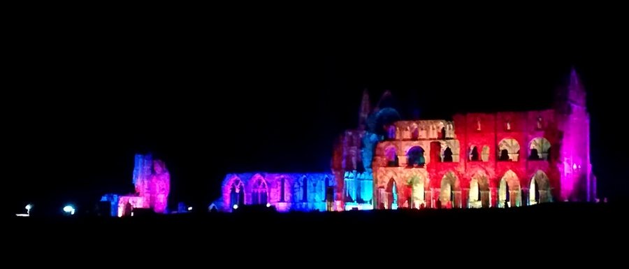 Whitby Abbey Illuminated with rainbow colours