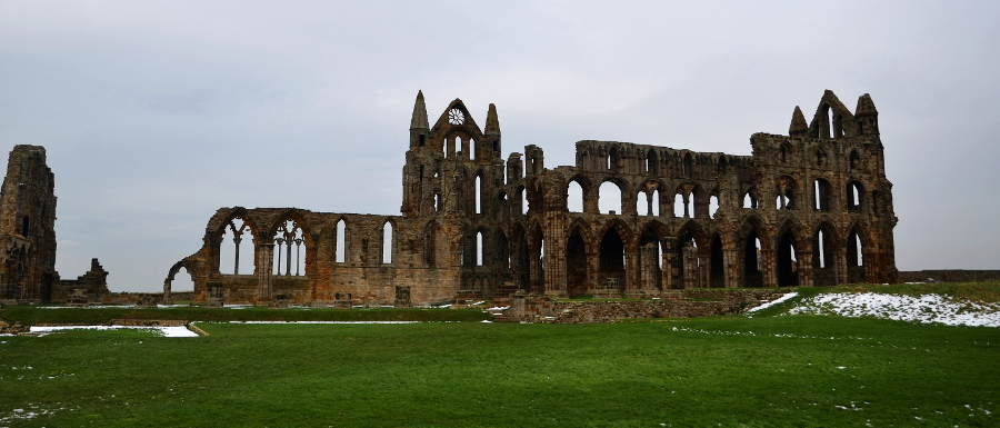 Whitby Abbey with snow