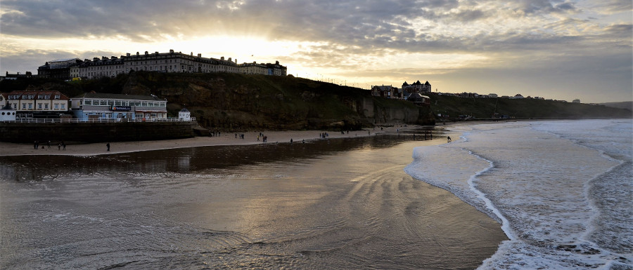 Whitby Beach at sunset