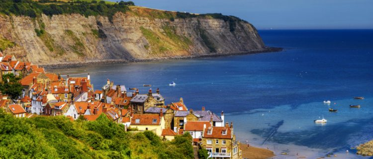 view of the town on a walk from Whitby to Robin Hood's Bay