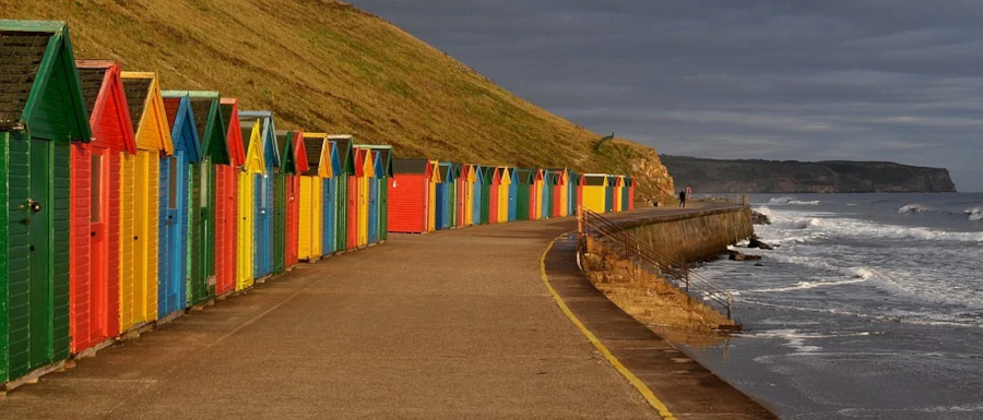 person on a walk in Whitby in winter