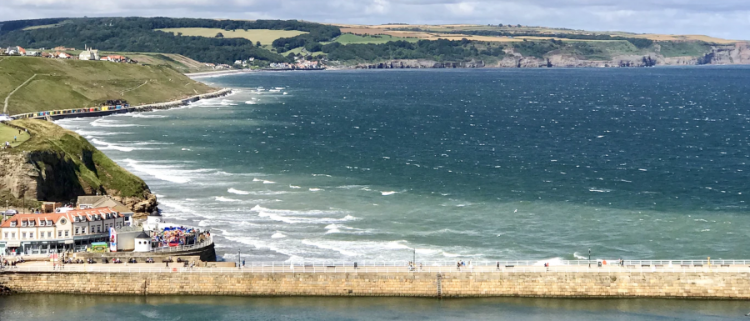 Whitby pier, sea and harbour