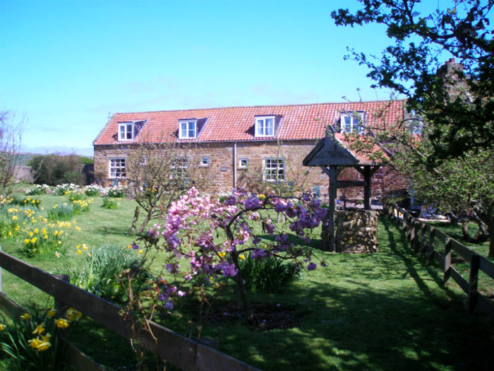 View across the gardens to Farsyde Farm Cottages