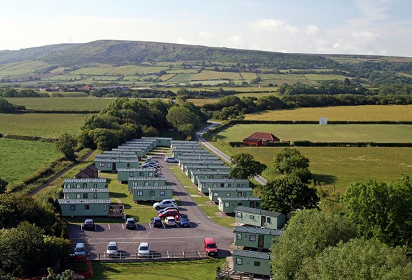 Aerial view of the caravans at Middlewood Farm Park, Robin Hood's Bay