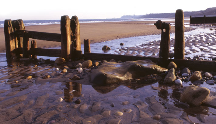 The view from Sandsend to Whitby along the beach