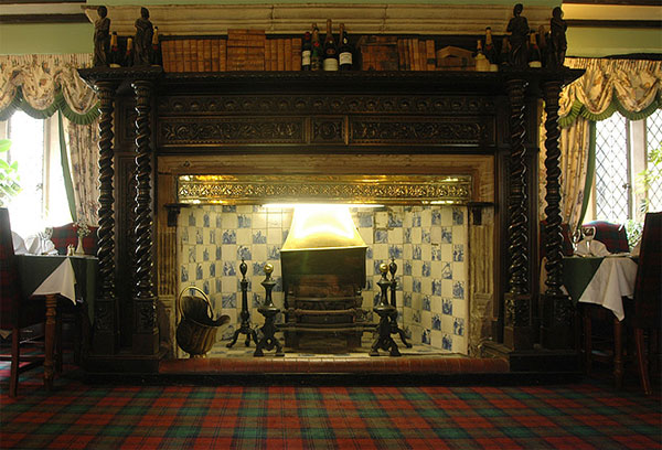 The stunning fireplace in the restaurant at Bagdale Hall Hotel, Whitby