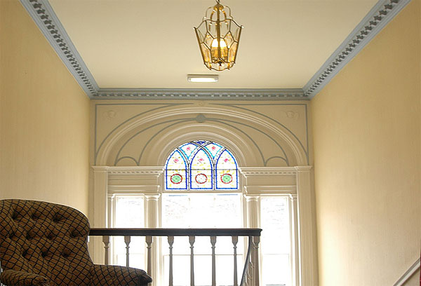 The beautiful Palladian stained glass window in Number 4 Bagdale, Bagdale Hall Hotel, Whitby
