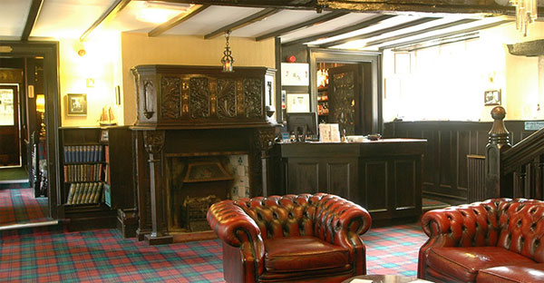 The characterful reception area at Bagdale Hall Hotel, Whitby