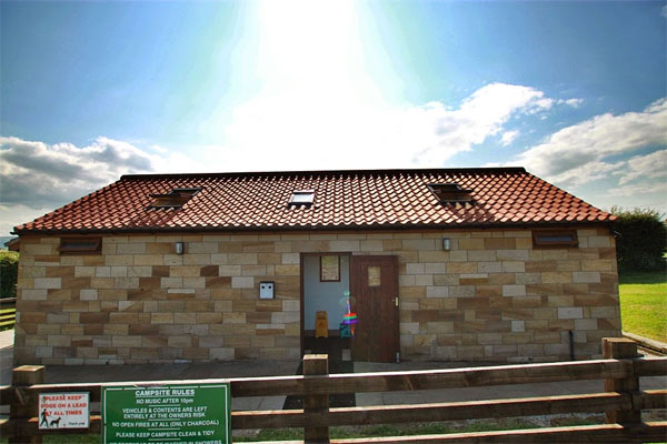 The shower block at Broadings Farm Caravan and Camping Park, Whitby