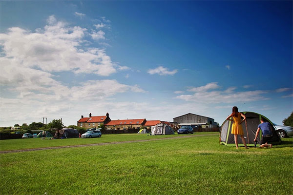 The delightful camping field for tents at Broadings Farm Caravan and Camping Park, Whitby