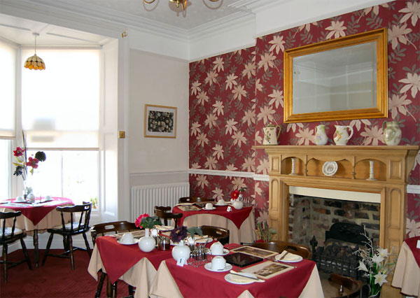 The light and airy dinning room at Bramblewick Guesthouse, Whitby