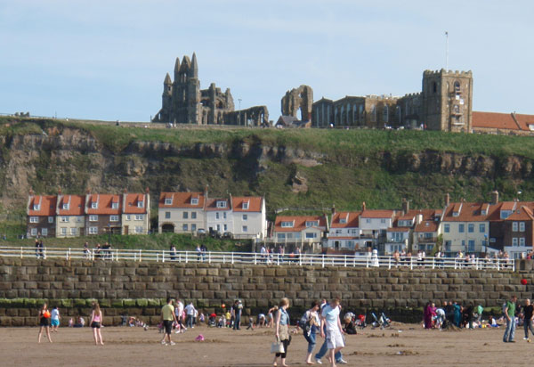 The view from the big sands of East Cliff Cottages, Whitby