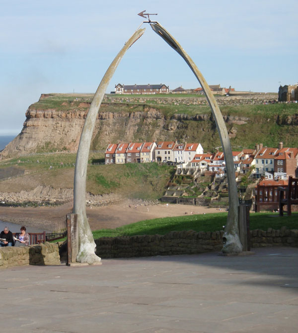 The famous whale bone arch, East Cliff Cottages, Whitby