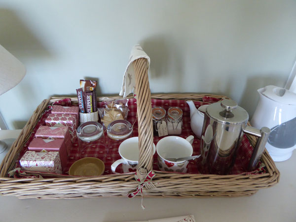 The lovely hospitality tray at The Birdhouse Bed & Breakfast, Whitby