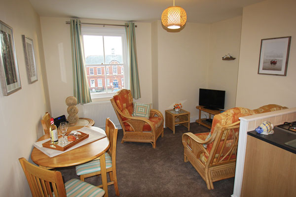The open plan living area at Dawn's Gem Apartment, Whitby