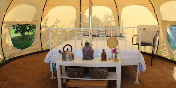 The lovely Bell Tent at Serenity Touring Caravan and Camping Park