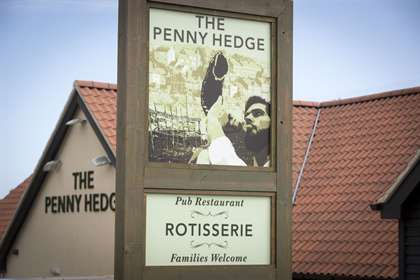 The external signage at the Penny Hedge, Whitby