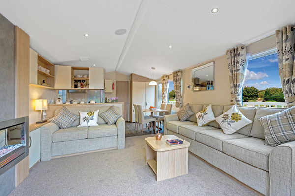 A stunning lounge from a caravan at Middlewood Farm Park, Robin Hood's Bay