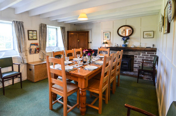 Light and airy dining room at the Farm, Aislaby Lodge Cottages