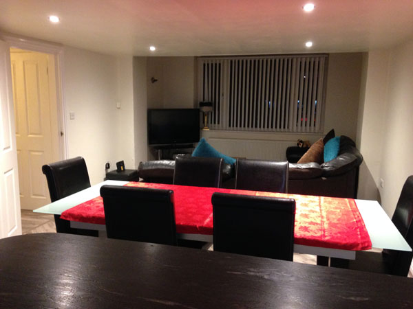 Open plan living area at The Pillars, Metropole Luxury Apartments, Whitby