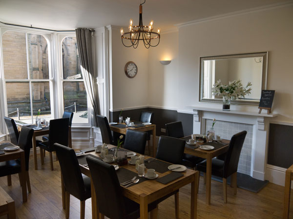 The lovely dining room at The Belfry, Whitby