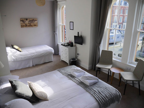 The light and airy family bedroom at The Belfry, Whitby