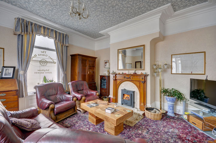 The spacious guest lounge at The Corner Guest House, Whitby