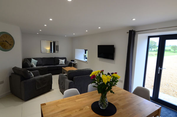 The light and airy living space at in Cottage 1 at Granary Cottages, Whitby