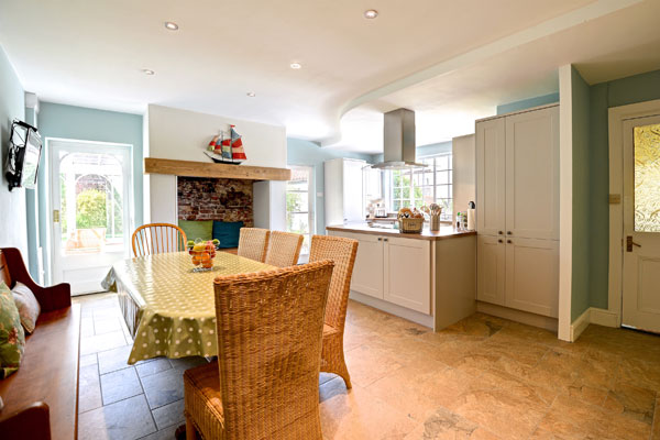 The light and airy fully fitted kitchen at Hanover Cottage, Whitby