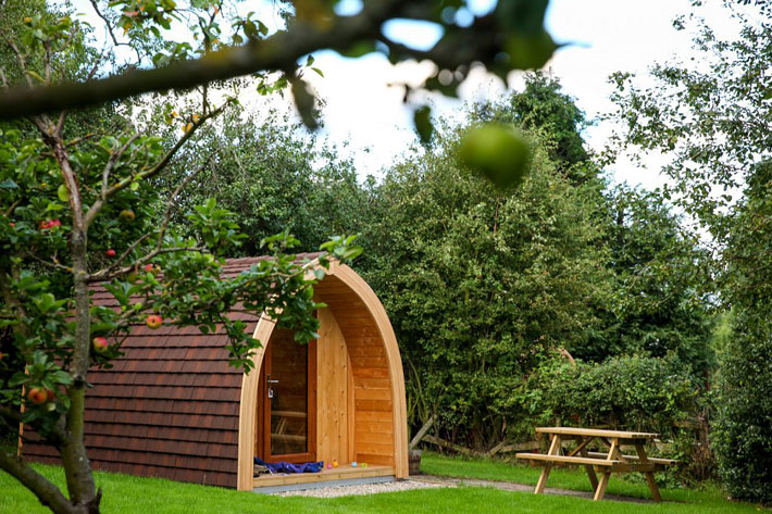 Peaceful rural setting of camping pods at Partridge Nest Farm