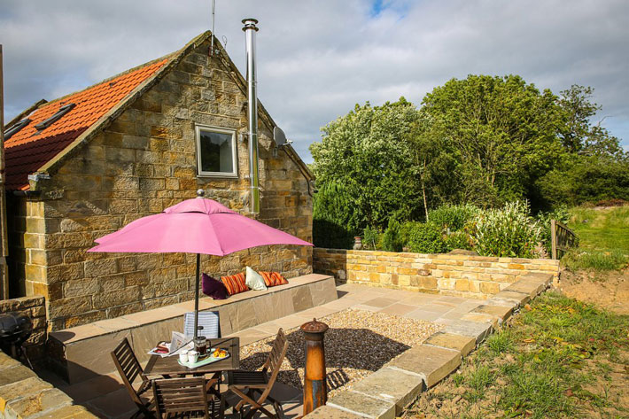 Patio of Partridge Nest Farm cottage in Whitby