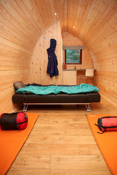 Camping pod interior at Partridge Nest Farm in Whitby