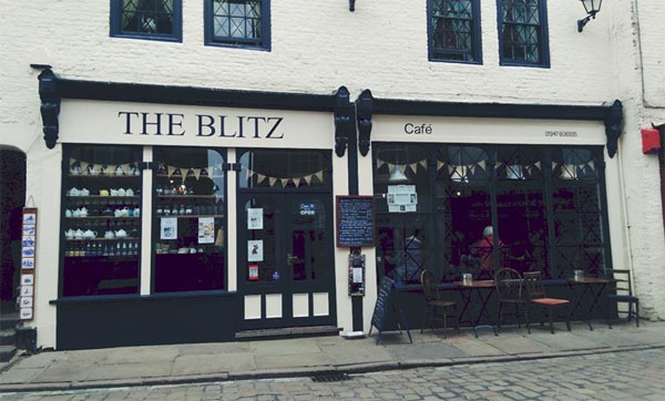 The charming exterior of The Blitz Cafe, Whitby